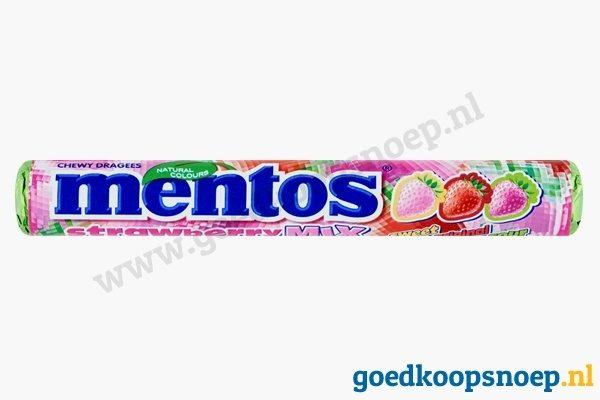 Mentos Aardbei Mix - goedkoopsnoep.nl - snoeprollen