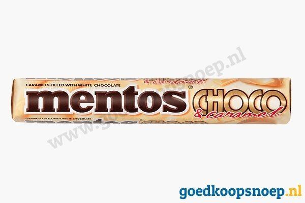 Mentos Choco Caramel Wit Chocolade - goedkoopsnoep.nl - snoeprollen