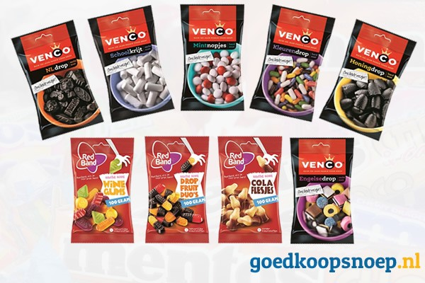 Venco en Redband zakjes toegevoegd aan assortiment - goedkoopsnoep.nl - sn